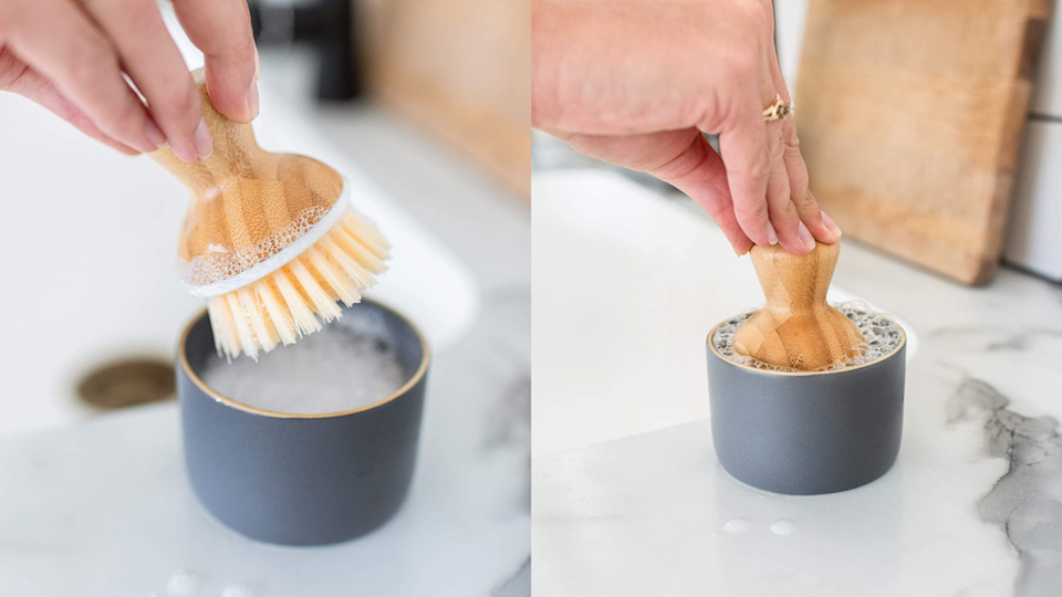 Not only is this bamboo dish brush functional, but it's also more stylish than a regular sponge.