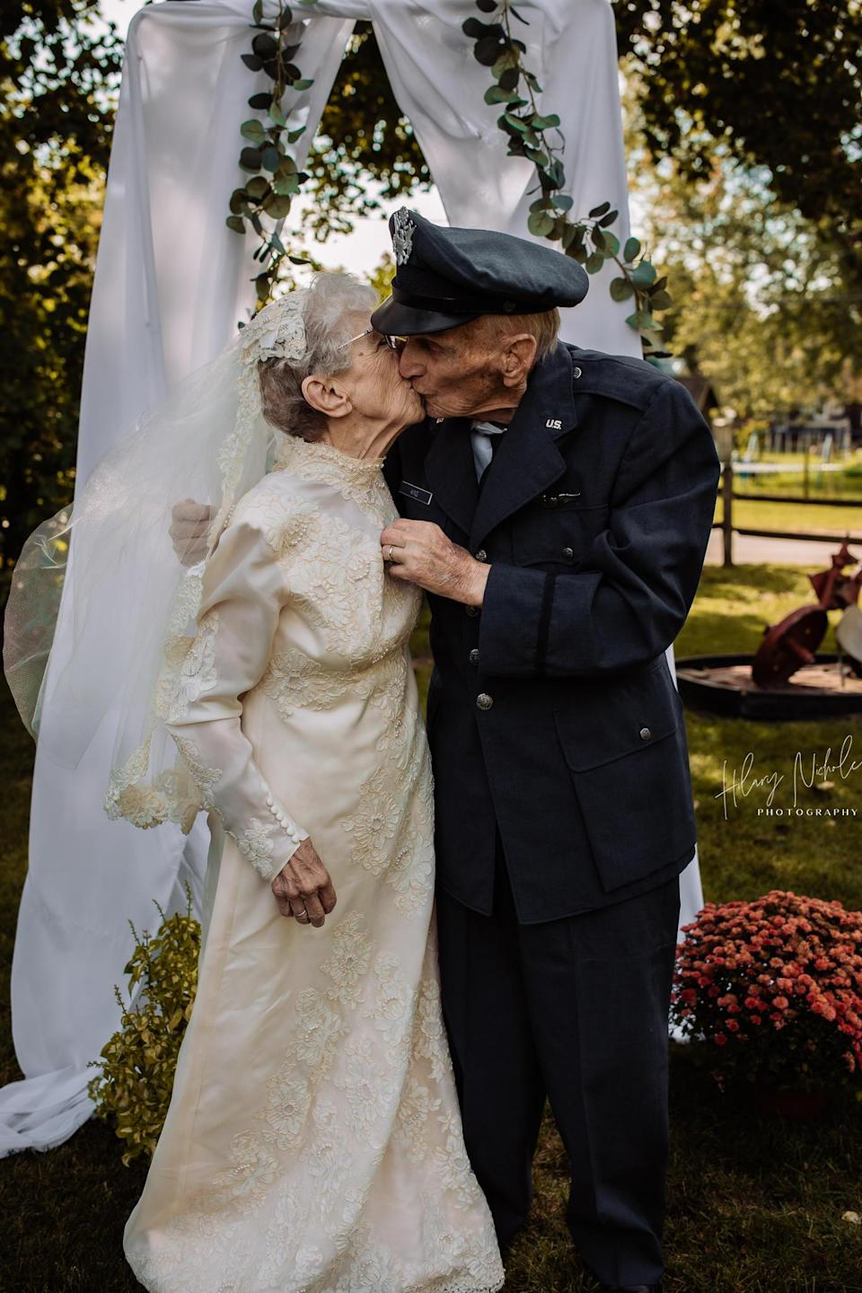 Royce wore his original Air Force uniform and Frankie wore her first wedding dress, donated by a St. Croix Hospice employee. / Credit: Sue Bilodeau