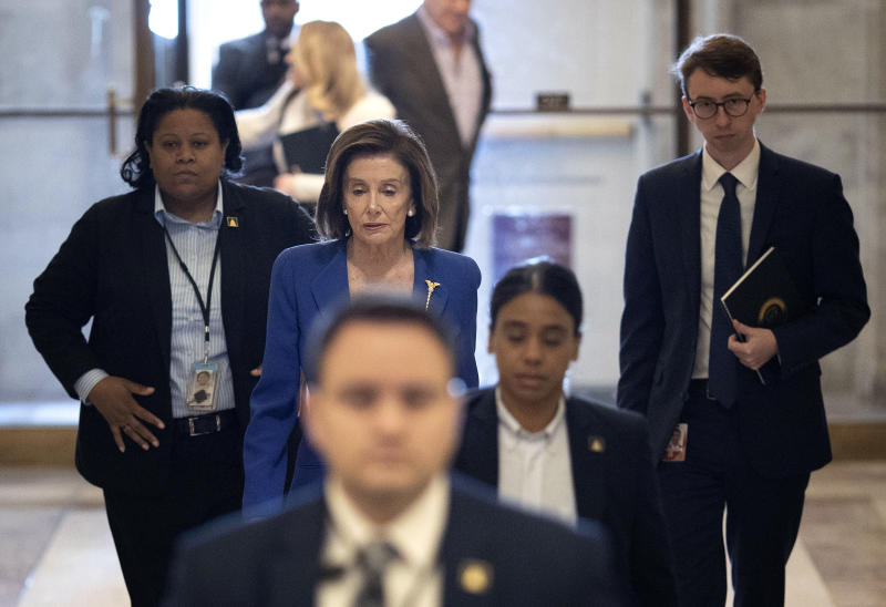 WASHINGTON, DC - MARCH 27: U.S. Speaker of the House Nancy Pelosi (D-CA) arrives at the U.S. Capitol on March 27, 2020 in Washington, DC. The House of Representatives is scheduled to vote today on the stimulus bill intended to combat the economic effects caused by the coronavirus pandemic. (Photo by Win McNamee/Getty Images)