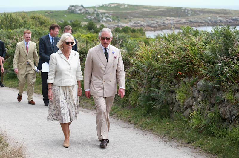 ISLES OF SCILLY, ENGLAND - JULY 21: Camilla, Duchess of Cornwall and Prince Charles, Prince of Wales visit St Agnes Island on July 21, 2015 in Isles of Scilly, United Kingdom. (Photo by Chris Jackson/Getty Images)