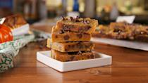 """<p>You'll be baking these on repeat all fall. </p><p>Get the recipe from <a href=""""https://www.delish.com/cooking/recipe-ideas/a23301140/pumpkin-spice-blondies-recipe/"""" rel=""""nofollow noopener"""" target=""""_blank"""" data-ylk=""""slk:Delish"""" class=""""link rapid-noclick-resp"""">Delish</a>.</p>"""