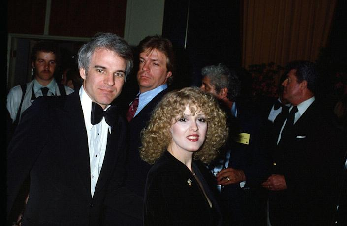 <p>Funny man Steve Martin and actress and Broadway powerhouse Bernadette Peters met in the late 70s while filming <em>The Jerk</em>, and the duo dated for a few years afterwards. </p>