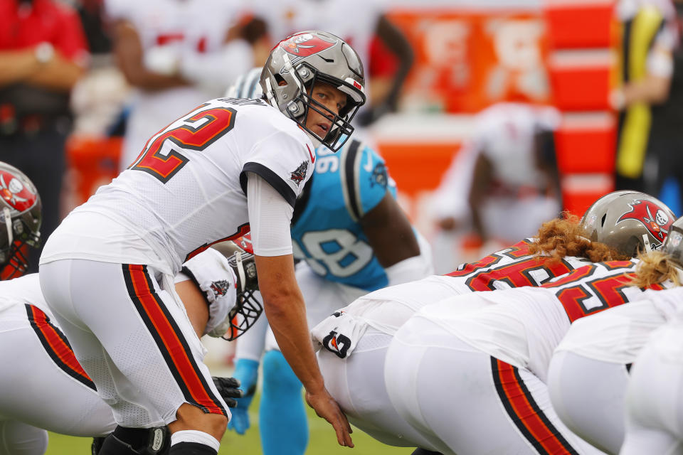 Brady and the Buccaneers avoided a 0-2 start, defeating the Panthers 31-17. (Photo by Mike Ehrmann/Getty Images)