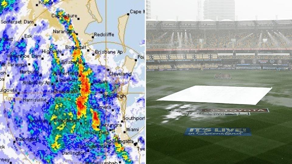 Heavy rain, pictured here lashing the Gabba hours before the AFL grand final.