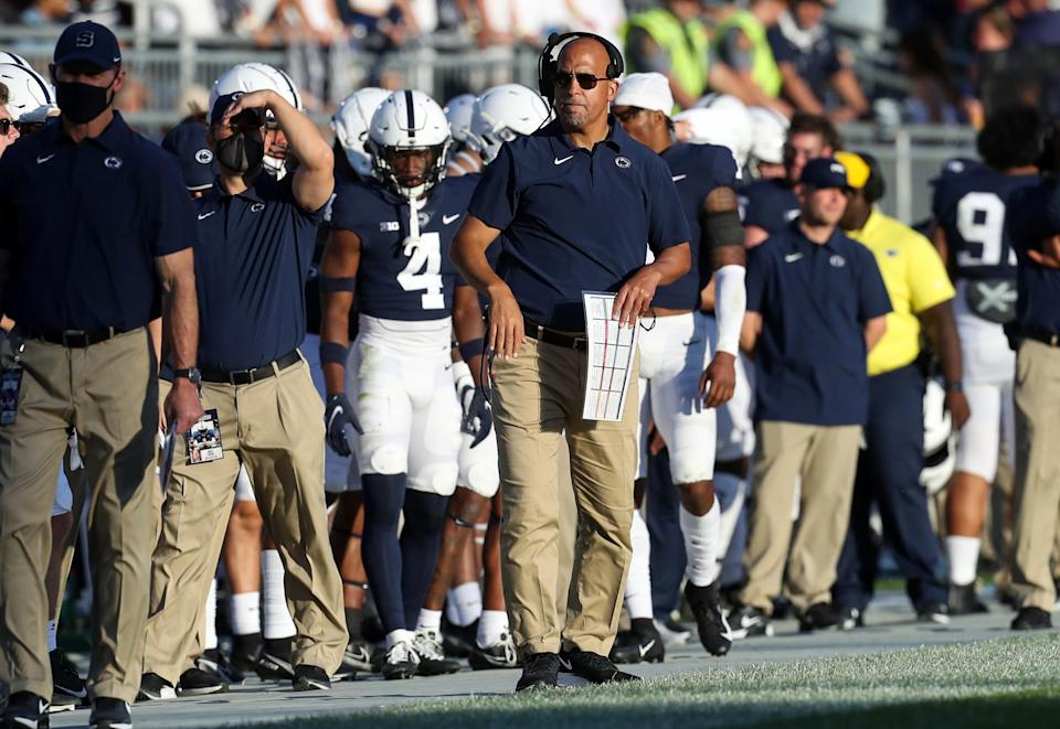 Penn State head coach James Franklin looks on from the sideline during a game against Ball State.