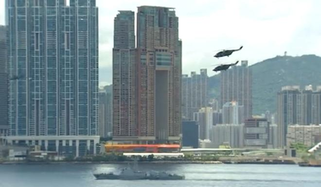 Ground, navy and air force personnel took part in the drill in Hong Kong. Photo: Weibo