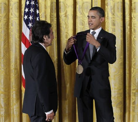 President Obama gives Al Pacino a National Medal for the Arts on February 13, 2012, in the East Room of the White House. (Photo: AP)