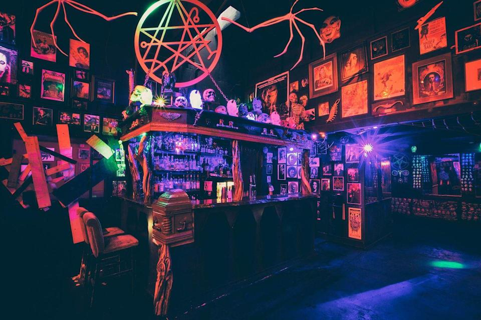 """<p><em>Portland, OR</em></p><p>Only in Portland would you find a <a href=""""http://thelovecraftbar.com"""" rel=""""nofollow noopener"""" target=""""_blank"""" data-ylk=""""slk:Lovecraftian-inspired"""" class=""""link rapid-noclick-resp"""">Lovecraftian-inspired</a> bar that conjures tasty spirits under the tribute of everything macabre and weird.</p><p>Photo: <a href=""""http://thelovecraftbar.com/gallery/"""" rel=""""nofollow noopener"""" target=""""_blank"""" data-ylk=""""slk:Joey Mors"""" class=""""link rapid-noclick-resp"""">Joey Mors</a></p>"""
