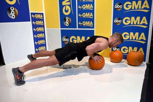 PHOTO: The pumpkin push-up helps strengthen everything from the abs to the shoulder muscles. (Paula Lobo/ABC News)