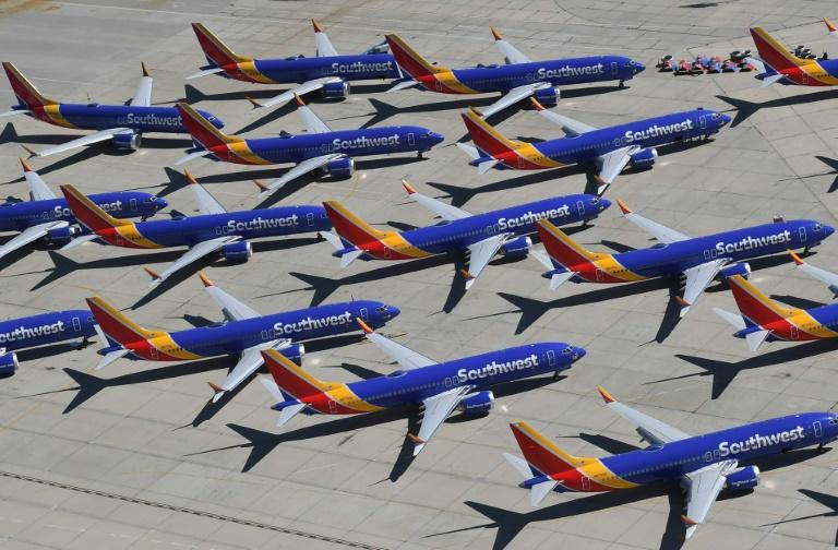 Southwest Airlines, whose Boeing 737 MAX aircraft are shown here parked on a California tarmac, again pushed back its timeframe for returning the plane to service