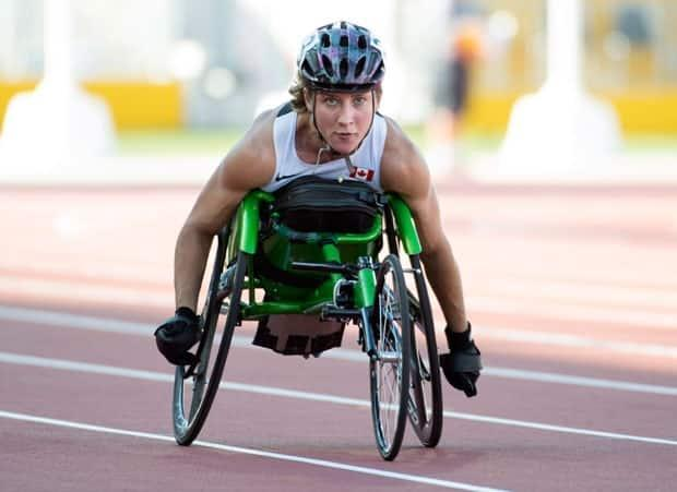 Yukoner Jessica Frotten, who now lives in Regina, competing at the Parapan Am Games in Toronto in 2015. Frotten is heading to Tokyo in August, to compete in her first Paralympic Games.  (Darren Calabrese/The Canadian Press - image credit)