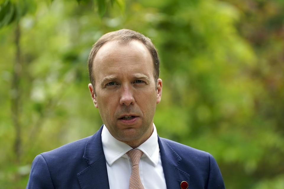 British Secretary of State for Health, Matt Hancock speaking at a memorial tree planting ceremony at Oxford Botanic Gardens following a G7 health ministers meeting at Mansfield College, Oxford University, ahead of the G7 leaders' summit. Picture date: Friday June 4, 2021.