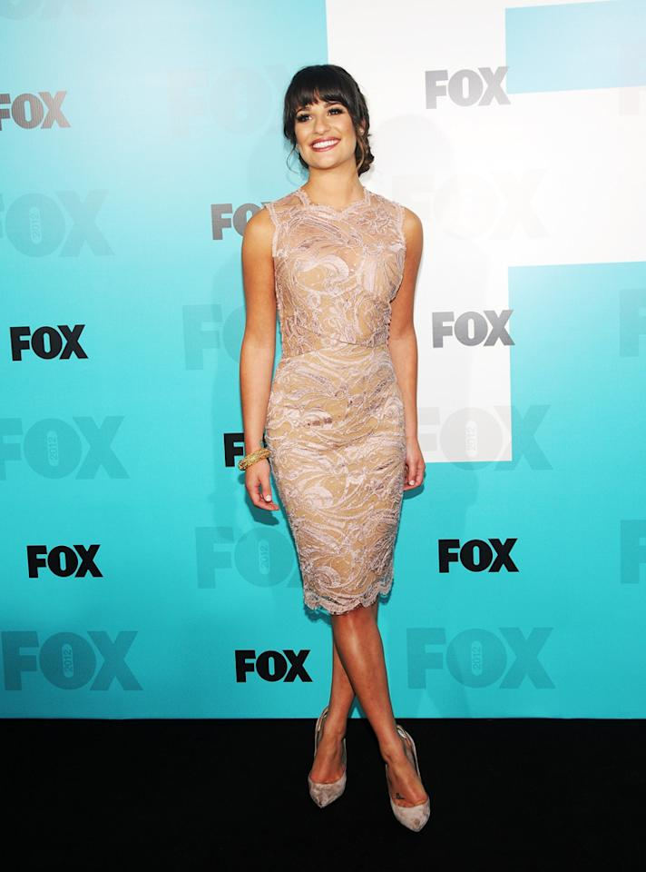 Lea Michele wears an Emilio Pucci lace sheath dress to the Fox 2012 Upfront Presentation Post-Show Party at Wollman Rink Central Park on May 14, 2012 in New York City. She paired her blush-colored frock with Casadei suede pumps and Lorraine Schwartz jewels.