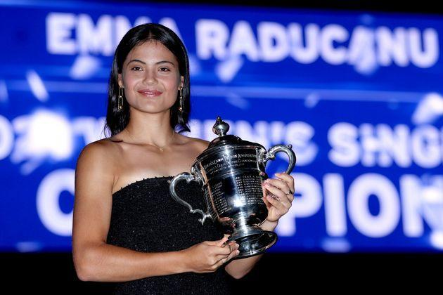 Emma Raducanu with the championship trophy after defeating Canadian Leylah Fernandez during their Women's Singles final match at the weekend (Photo: Matthew Stockman via Getty Images)
