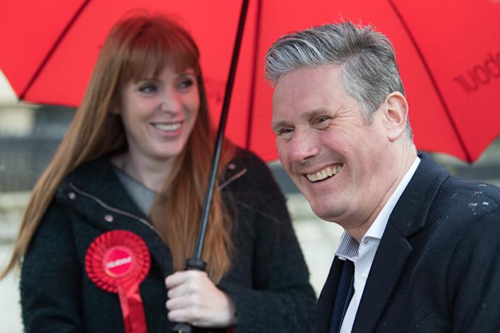 Leader of the Labour Party Sir Keir Starmer (right) with Labour Deputy Leader, Angela Rayner during a visit to Birmingham, whilst on the election campaign trail. Picture date: Wednesday May 5, 2021.