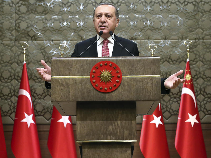 Turkey's President Recep Tayyip Erdogan addresses village administrators in Ankara, Turkey: AP
