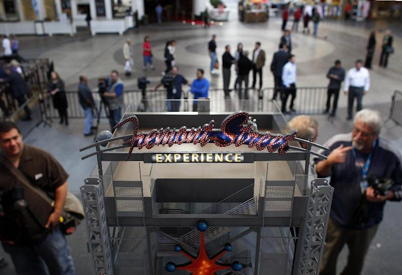 A model of Slotzilla is seen during a press conference in Las Vegas Tuesday, Nov. 27, 2012. Slotzilla is a permanent zipline attraction planned for downtown Las Vegas. (AP Photo/Las Vegas Review-Journal, John Locher)