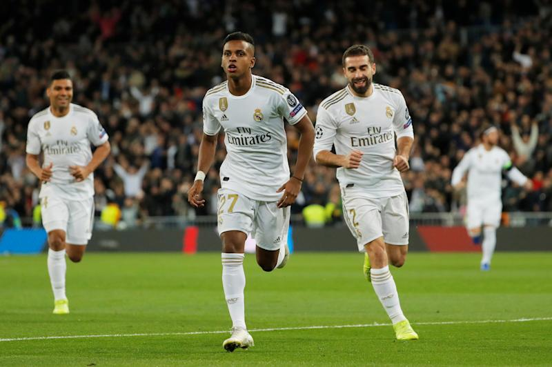 Soccer Football - Champions League - Group A - Real Madrid v Galatasaray - Santiago Bernabeu, Madrid, Spain - November 6, 2019 Real Madrid's Rodrygo celebrates scoring their first goal REUTERS/Susana Vera