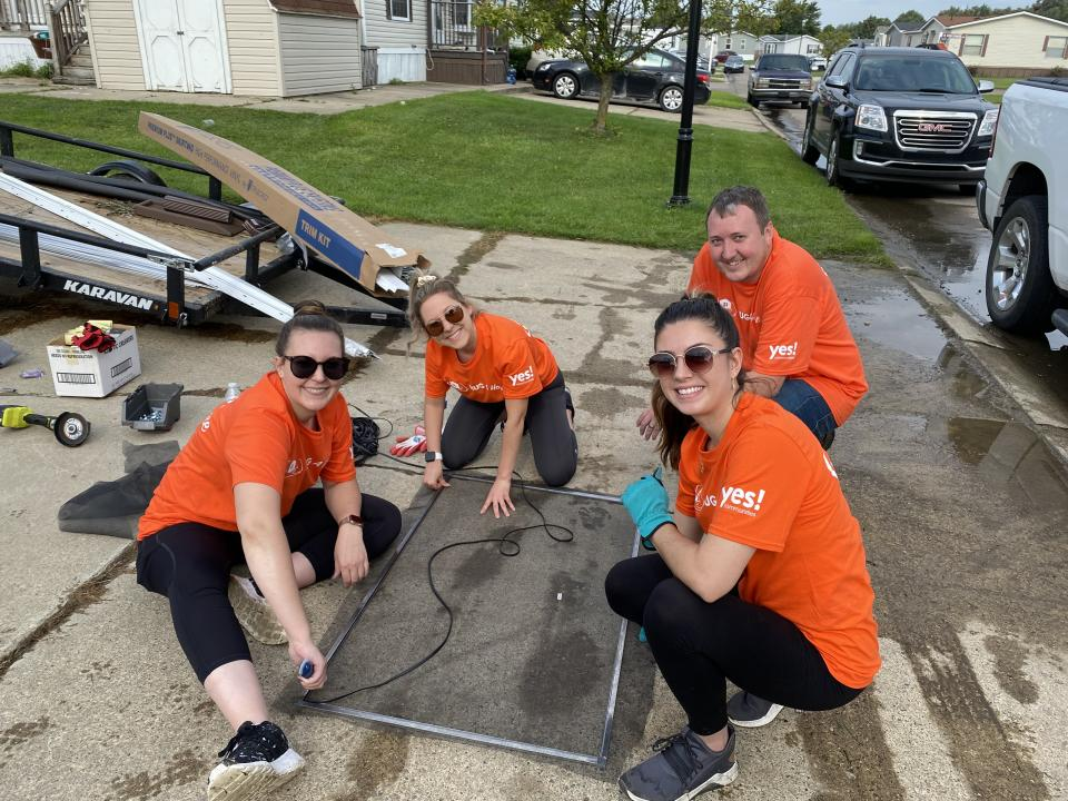 YES Communities team members are hard at work on the home renovation.