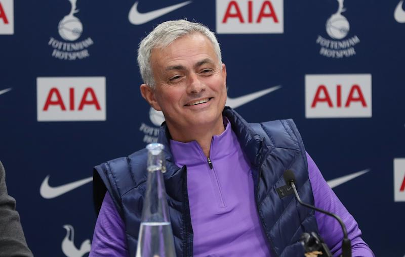 ENFIELD, ENGLAND - NOVEMBER 21: Jose Mourinho, Head Coach of Tottenham Hotspur talks to the media during the Tottenham Hotspur press conference at Tottenham Hotspur Training Centre on November 21, 2019 in Enfield, England. (Photo by Tottenham Hotspur FC/Tottenham Hotspur FC via Getty Images)