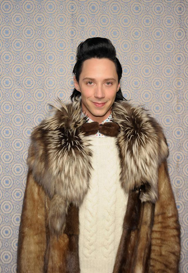 NEW YORK, NY - FEBRUARY 11: Johnny Weir attends the Alice + Olivia By Stacey Bendet Fall 2013 fashion show presentation during Mercedes-Benz Fashion Week on February 11, 2013 in New York City. (Photo by Michael Loccisano/Getty Images)