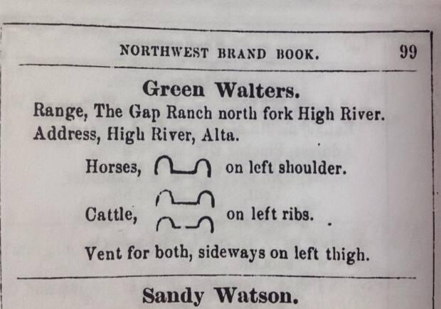 A photo of a page from Henderson's Northwest Rancher's Directory and Brand Book, 1888, which shows Walters's Ox Yoke brand.