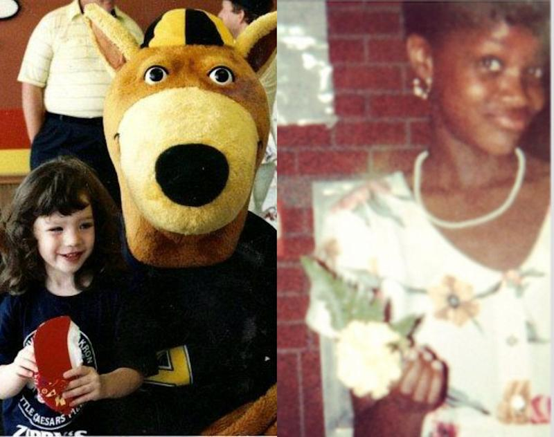 Left: Julia at 4years old with The University of Akron mascot, Zippy the Kangaroo; Right: Brianna at her fifth-grade graduation.