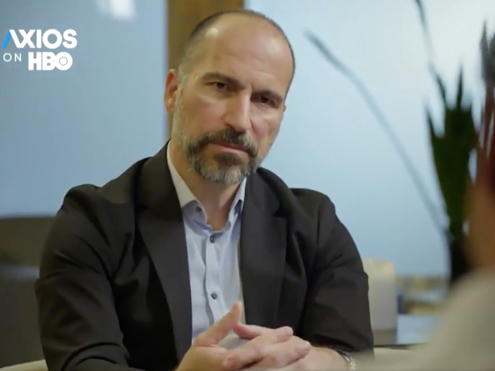 Uber chief executive Dara Khosrowshahi was interviewed for 'Axios on HBO': Twitter/Screengrab