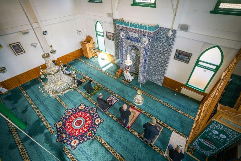 Muslims pray in the Turkish Mevlana Mosque in Hilversum, The Netherlands