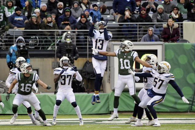 Chargers wide receiver Keenan Allen earned his first career interception Sunday againt the Jets. (AP Photo/Bill Kostroun)