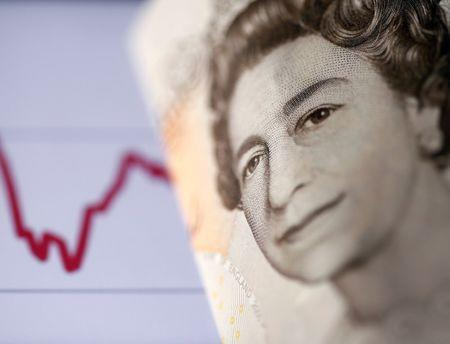 FILE PHOTO: A British ten pound note is seen in front of a stock graph in this picture illustration