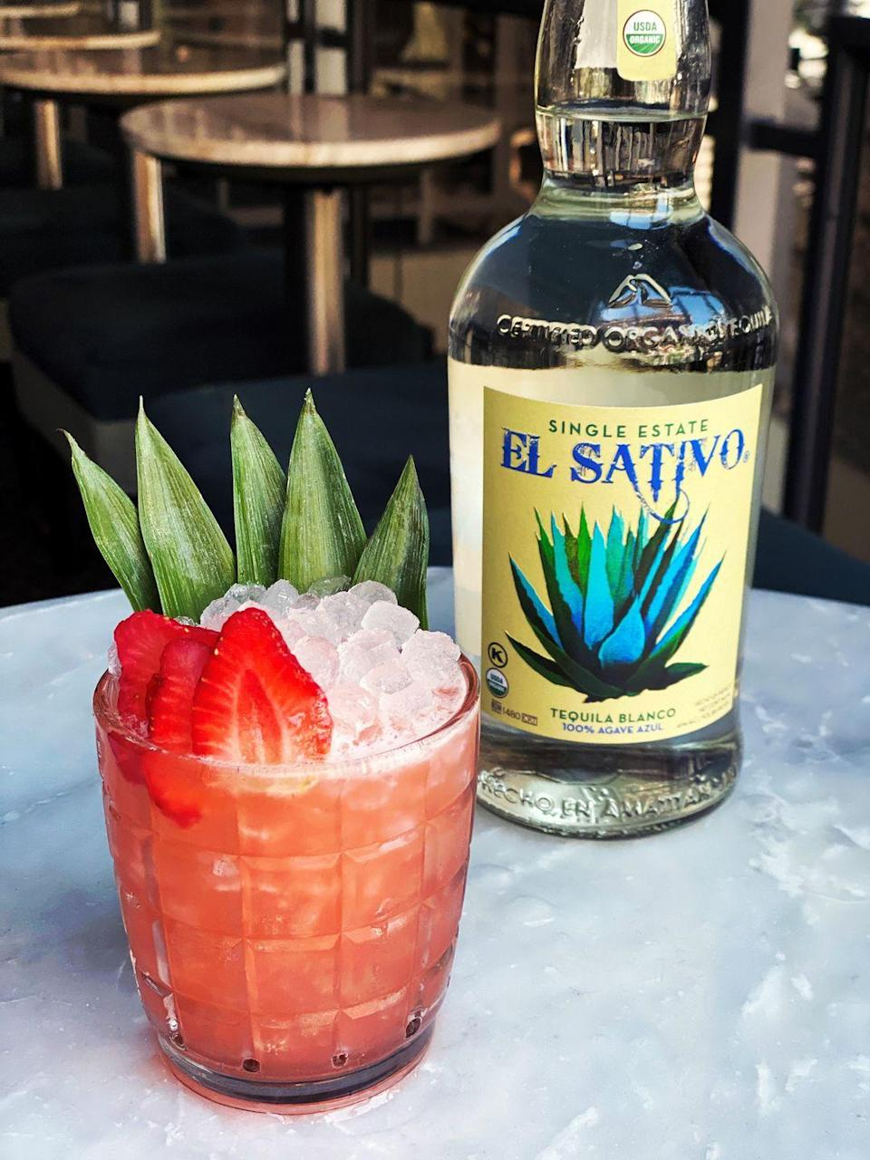 <p>It's strawberry season, and we're always looking for new ways to use this beautiful berry. This festive cocktail will remind you of tropical vacations past and have you dreaming of one someday soon.</p><p><strong>Ingredients:</strong></p><p>2 ounces El Sativo Blanco tequila (or tequila of choice)</p><p>1 ounce fresh lemon juice</p><p>3/4 ounces light agave syrup</p><p>1/2 ounce Fino sherry</p><p>1 strawberry, plus extras for garnish</p><p>pineapple, for garnish</p><p><strong>Directions:</strong></p><ol><li>De-stem and muddle one whole strawberry.</li><li>Add all ingredients and ice to a cocktail shaker tin and shake.</li><li>Fine-strain mixture into a rocks glass and add three ice cubes, plus gem ice. Garnish with strawberry slices and a pineapple fan (optional).</li></ol>