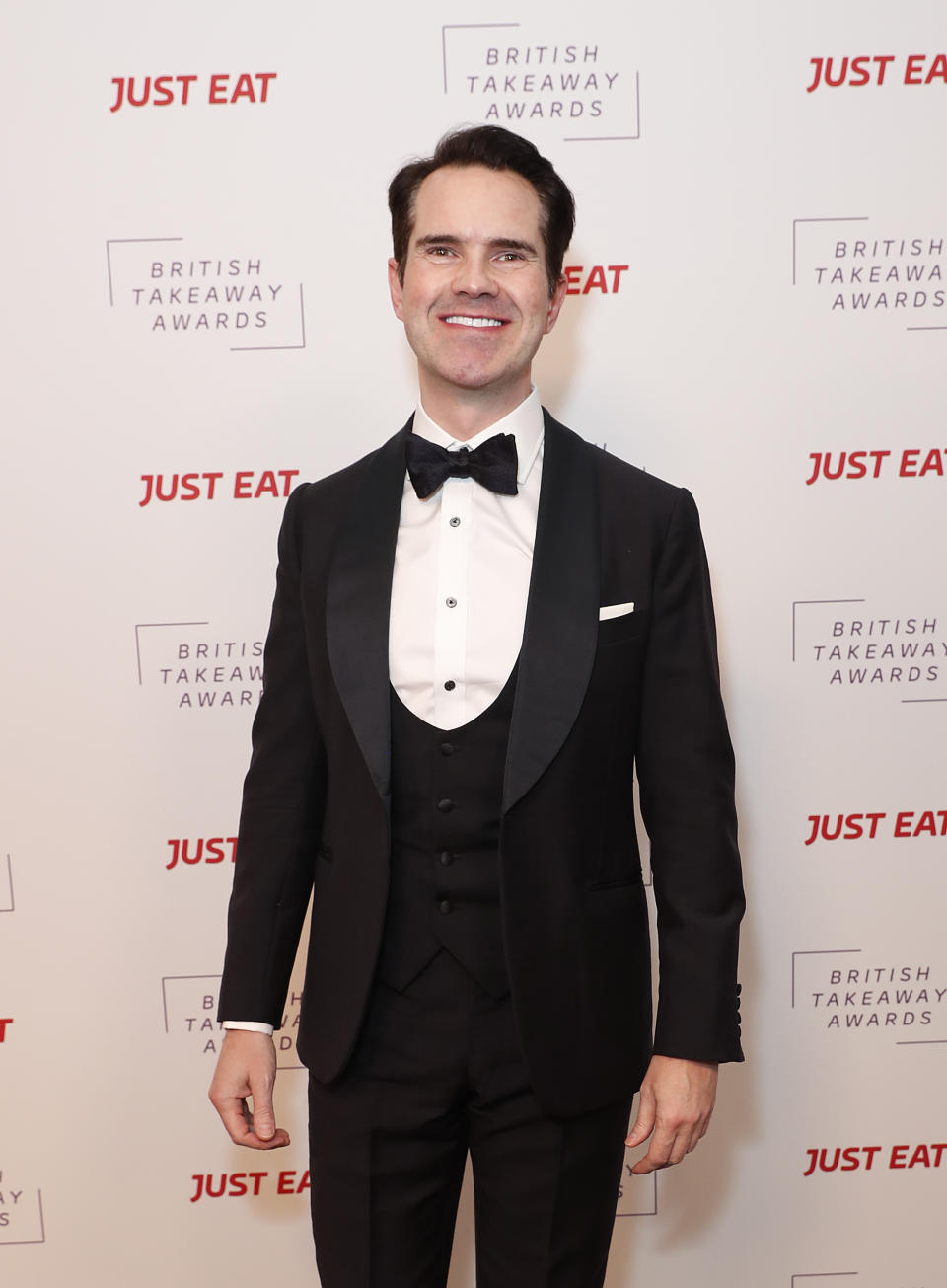 LONDON, ENGLAND - JANUARY 27: Jimmy Carr attends the fifth annual British Takeaway Awards, in association with Just Eat at The Savoy Hotel on January 27, 2020 in London, England. (Photo by David M. Benett/Dave Benett/Getty Images for Just Eat)