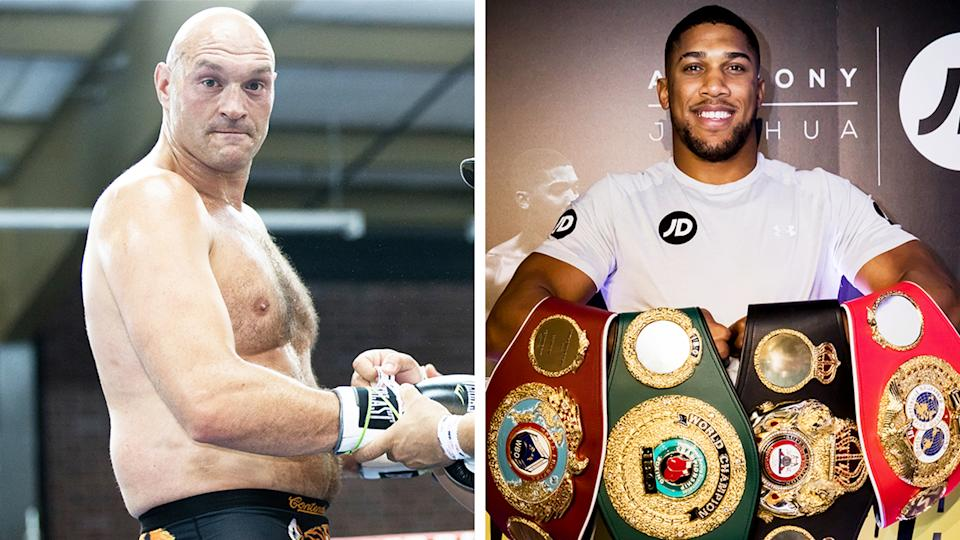 Tyson Fury (pictured left) putting on some gloves and Anthony Joshua (pictured right) holding his belts.