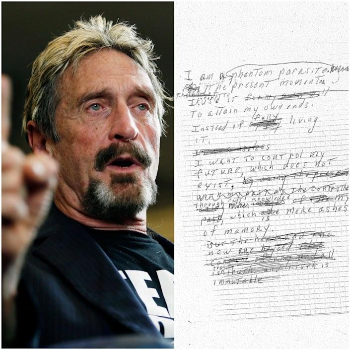 John McAfee and the alleged suicide note released by his wife ((Todd J. Van Emst/Opelika-Auburn News via AP, File) Twitter / Janice McAfee)