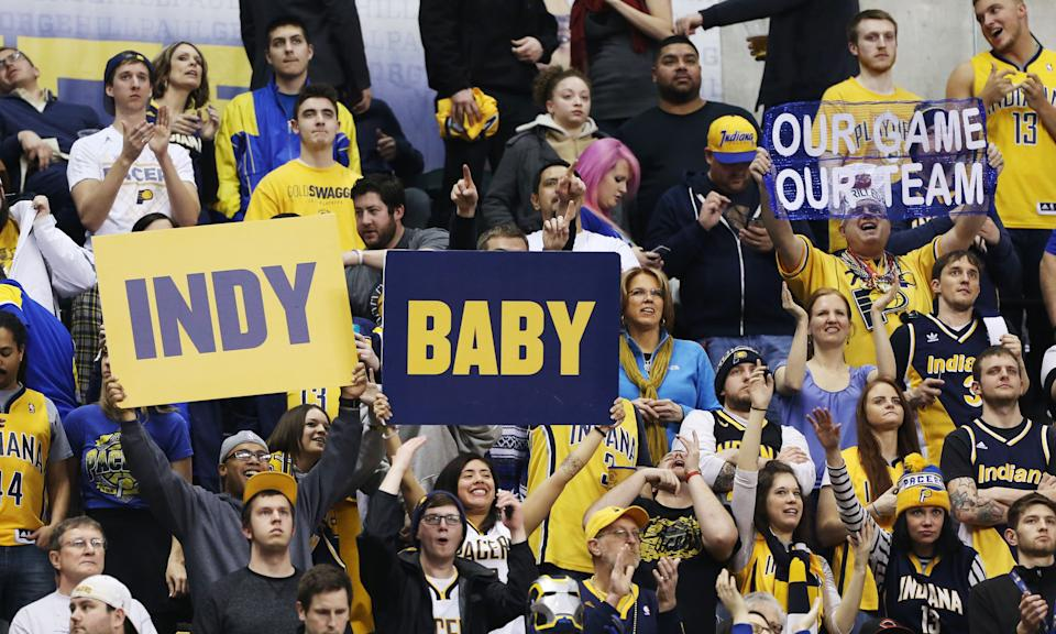 Mar 6, 2015; Indianapolis, IN, USA; Indiana Pacers fans celebrate the Pacers' victory during a game against the Chicago Bulls at Bankers Life Fieldhouse. Indiana defeats Chicago 98-84. (Brian Spurlock-USA TODAY Sports)