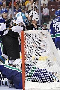 Ben Eager had something to say after beating Roberto Luongo with a late goal