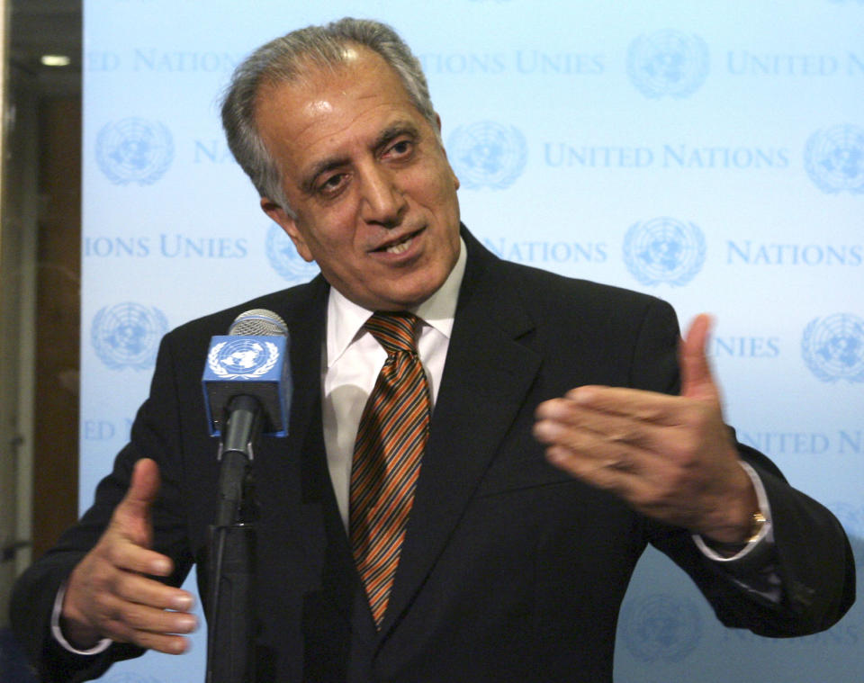 FILE - In this Jan. 5, 2009, file photo, then-U.S. Ambassador to the U.N. Zalmay Khalilzad, speaks to reporters at United Nations headquarters. The Trump administration, which initially steered away from appointing high-level diplomats to focus on particular world trouble spots, is now embracing special envoys. It announced Tuesday that Bush-era ambassador Khalilzad will run U.S. efforts for an Afghan-Taliban peace process to end the 17-year war. (AP Photo/Mary Altaffer, File)