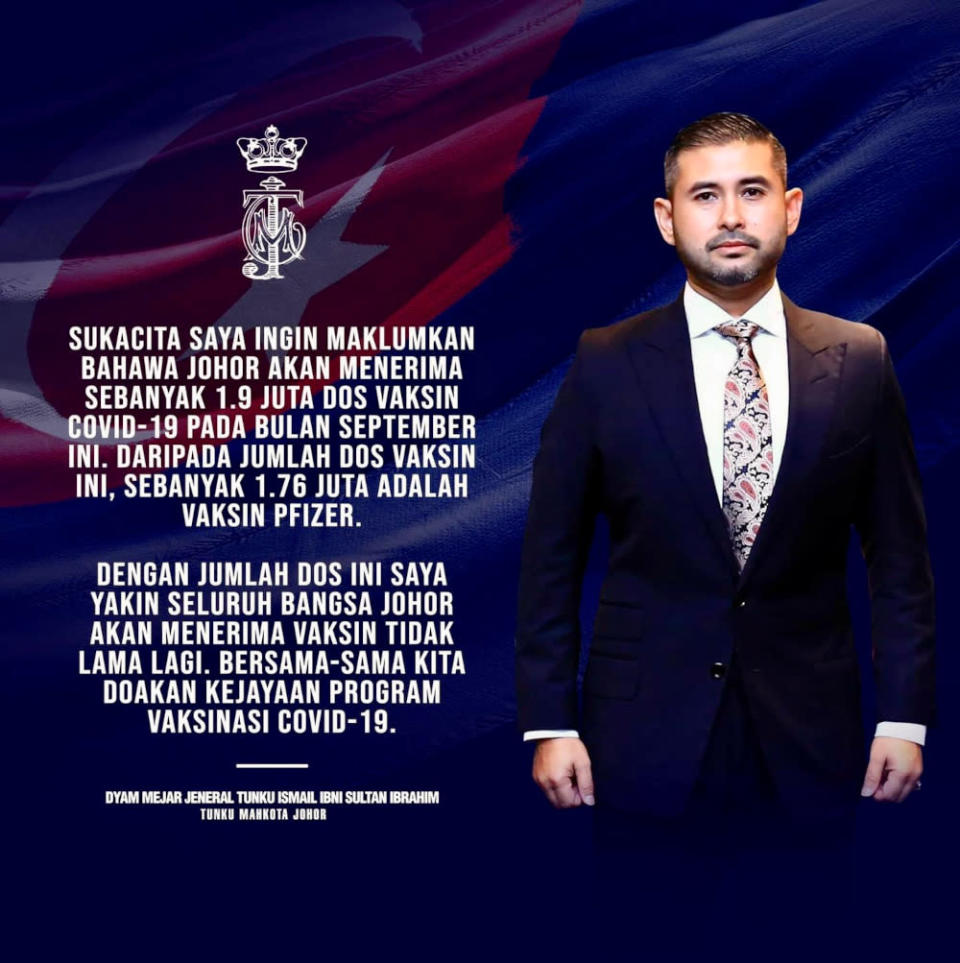 Johor Crown Prince Tunku Ismail Sultan Ibrahim announced tonight that the state will receive 1.9 million Covid-19 vaccine doses this month. — Picture from Facebook/HRH Crown Prince of Johor
