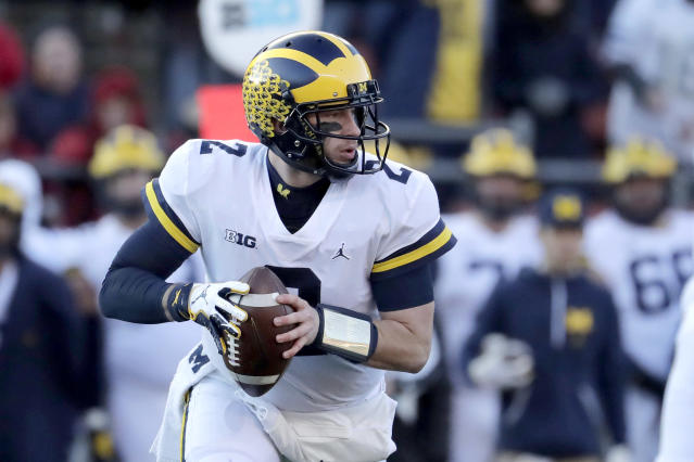 Michigan QB Shea Patterson looks to pass against Rutgers during the first half of an NCAA college football game, Saturday, Nov. 10, 2018, in Piscataway, N.J. (AP)