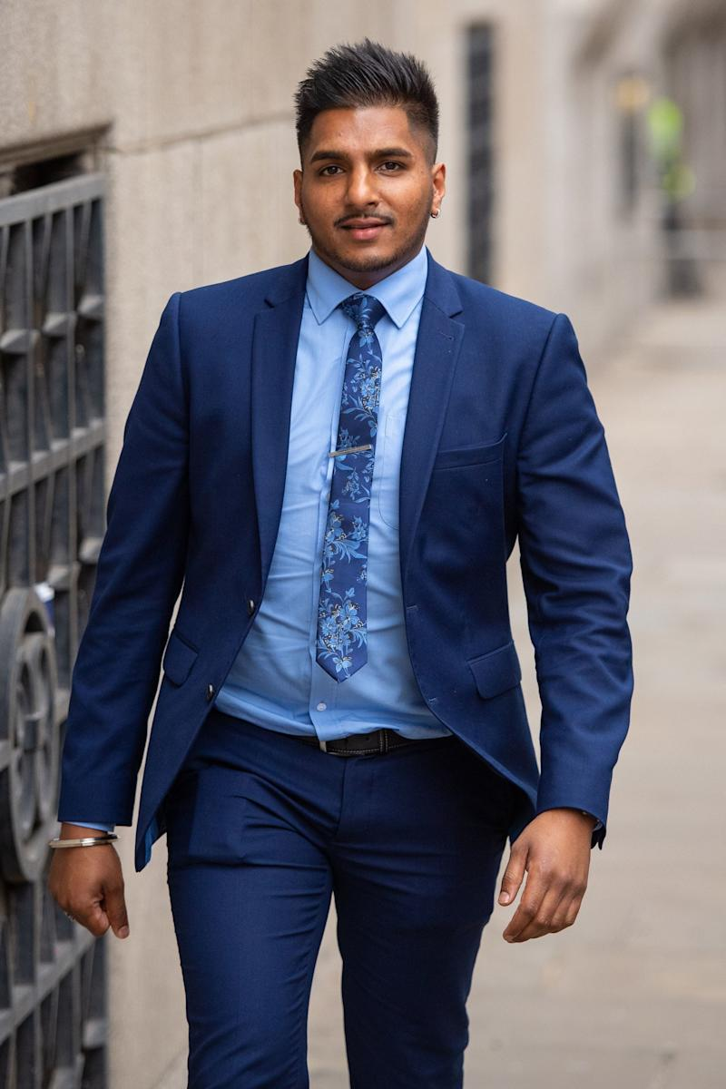 Onkar Singh outside the Old Bailey, in central London, after giving evidence in the trial of Faisal Abu Ahmad and Hisham Muhammad (PA)