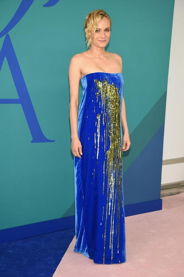 <p>The Cannes winner is shimmery in today's hottest label. (Photo: Getty Images) </p>