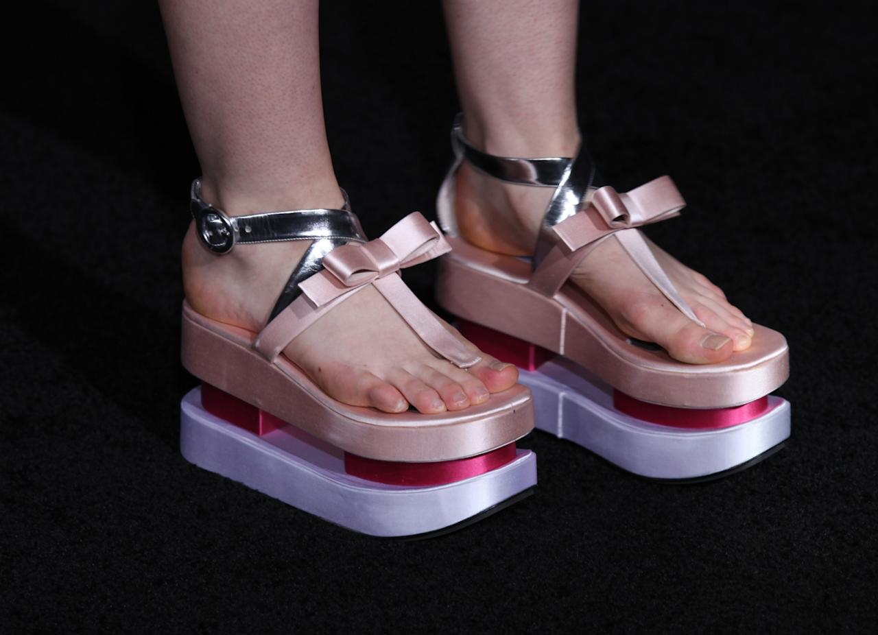 "A closeup of Elle Fanning's platform shoes as she arrives at ""The Twilight Saga: Breaking Dawn - Part 2"" Los Angeles premiere at the Nokia Theatre L.A. Live on November 12, 2012 in Los Angeles, California."