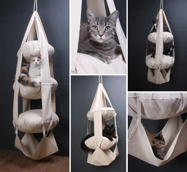 """<p>The hanging trapeze provides cats a place to both sleep and play. It also provides something for your houseguests to stare at in horror and/or envy.<a href=""""http://www.catstrapeze.us/collections/all"""" target=""""_blank"""">Available from The Cat's Trapeze</a>. <i>(Photo: <a href=""""http://www.catstrapeze.us/"""" target=""""_blank"""">The Cat's Trapeze</a>)</i></p>"""