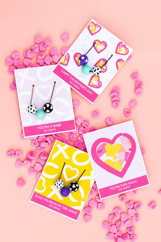 "<p>For older kids, jewelry making would be so fun for Valentine's Day. With Sarah Heart's <a href=""https://sarahhearts.com/printable-valentines-day-necklace-cards/"" target=""_blank"" class=""ga-track"" data-ga-category=""Related"" data-ga-label=""https://sarahhearts.com/printable-valentines-day-necklace-cards/"" data-ga-action=""In-Line Links"">printable Valentine's Day necklace cards</a>, your kid will have what they need to showcase a handmade bracelet or necklace for their friend, family member, or classmate (because you know you have a million of those rubber loops for friendship bracelets lying around, at the very least!).</p>"
