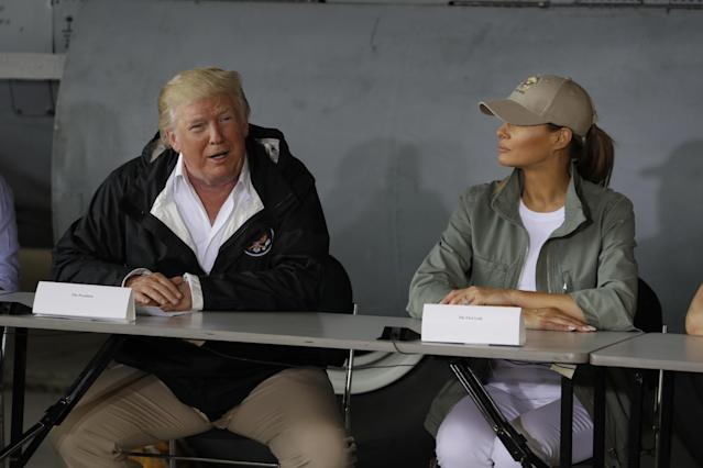<p>President Donald Trump talks about recovery efforts after arriving with first lady Melania Trump at Luis Muniz Air National Guard Base to survey hurricane damage, Tuesday, Oct. 3, 2017, in San Juan, Puerto Rico. (Photo: Evan Vucci/AP) </p>