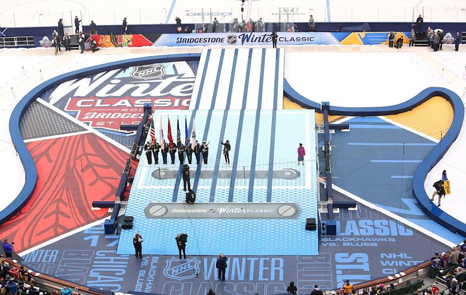 <p>ST LOUIS, MO – JANUARY 02: Trumpeter Spencer Ludwig plays the National Anthem with the U.S. Military Honoer Guard standing onstage prior to the 2017 Bridgestone NHL Winter Classic at Busch Stadium on January 2, 2017 in St Louis, Missouri. (Photo by Jared Silber/NHLI via Getty Images) </p>