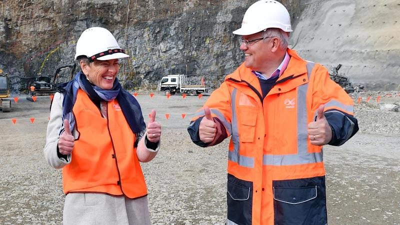 The PM joined Eden-Monaro Liberal candidate Fiona Kotvojs at the Snowy-Hydro scheme