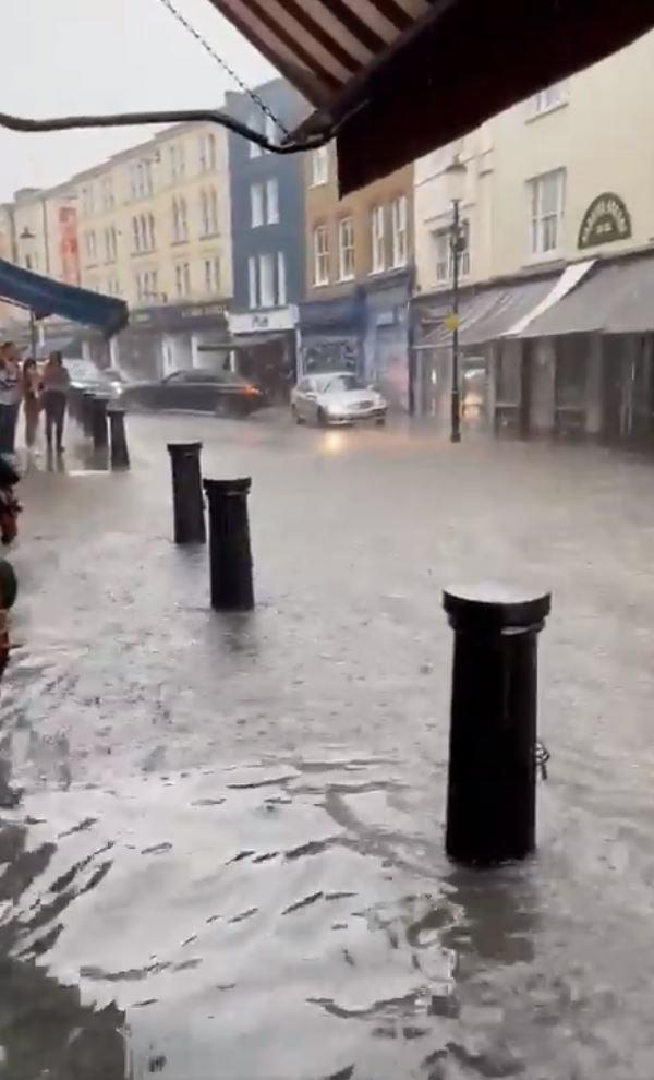 Flood waters poured through Notting Hill