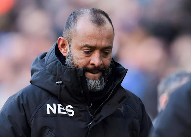 "Soccer Football - Championship - Preston North End vs Wolverhampton Wanderers - Deepdale, Preston, Britain - February 17, 2018 Wolverhampton Wanderers manager Nuno Espirito Santo Action Images/Paul Burrows EDITORIAL USE ONLY. No use with unauthorized audio, video, data, fixture lists, club/league logos or ""live"" services. Online in-match use limited to 75 images, no video emulation. No use in betting, games or single club/league/player publications. Please contact your account representative for further details."